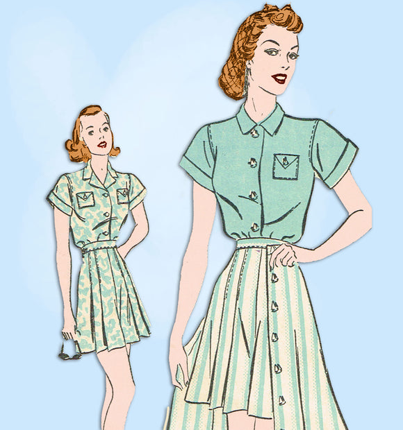 1930s Vintage Advance Sewing Pattern 2293 WWII Misses Shirt Shorts & Skirt 34 B -Vintage4me2