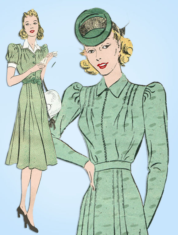 1930s Vintage Advance Sewing Pattern 2312 Misses Softly Tailored Dress Size 36 B - Vintage4me2