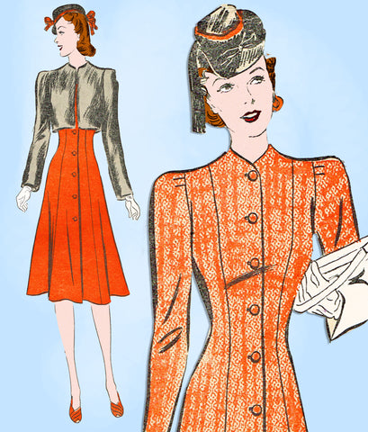 1930s Vintage Advance Sewing Pattern 2343 Misses Princess Coat Dress & Bolero 12