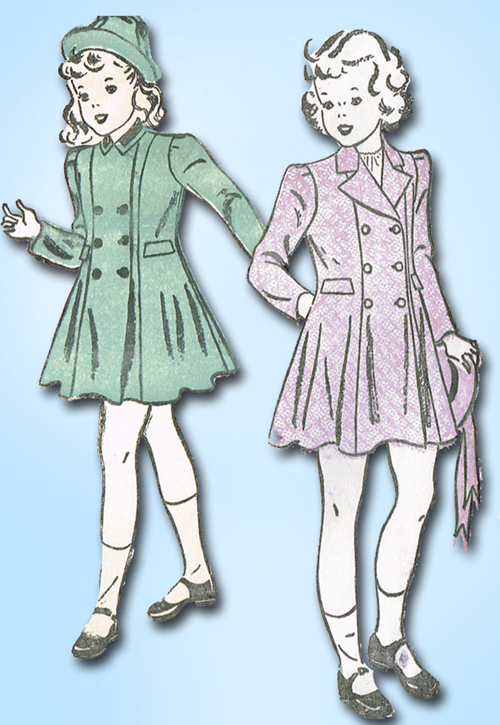 1940s Original Vintage Advance Pattern 2346 Uncut Girls Princess Coat & Hat Sz 6
