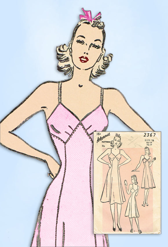 1940s Vintage Advance Sewing Pattern 2367 Misses WWII Bias Cut Slip Sz 34 Bust