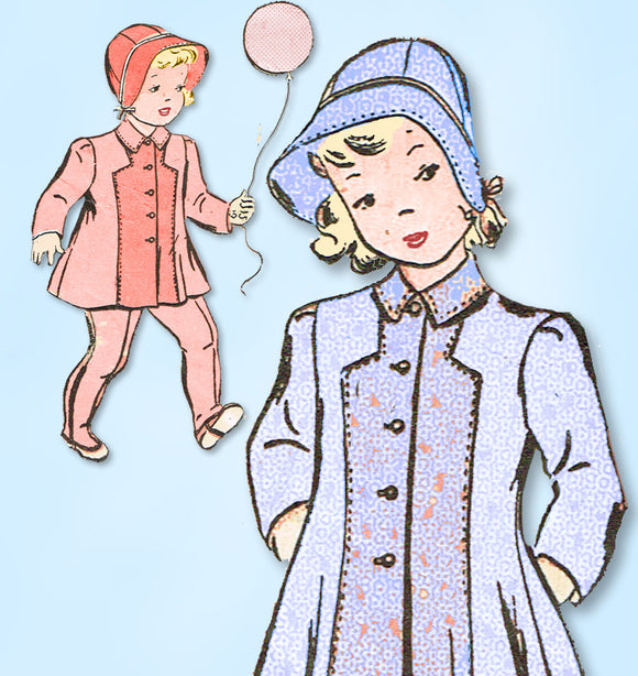 1940s Vintage Advance Sewing Pattern 2571 WWII Toddler Girls Coat & Bonnet Sz 4
