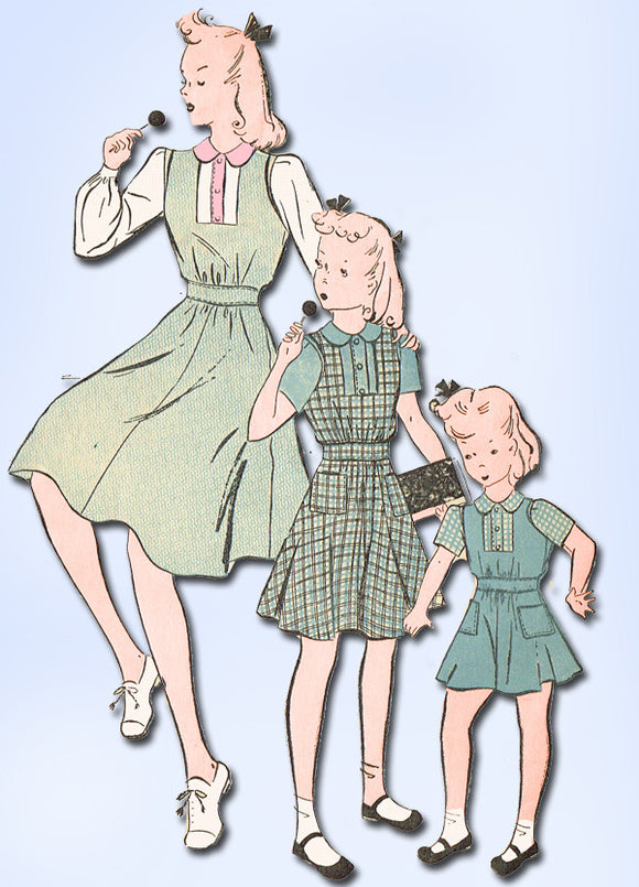 1940s Vintage Advance Sewing Pattern 2600 Uncut WWII Girls Jumper Dress Size 6 - Vintage4me2