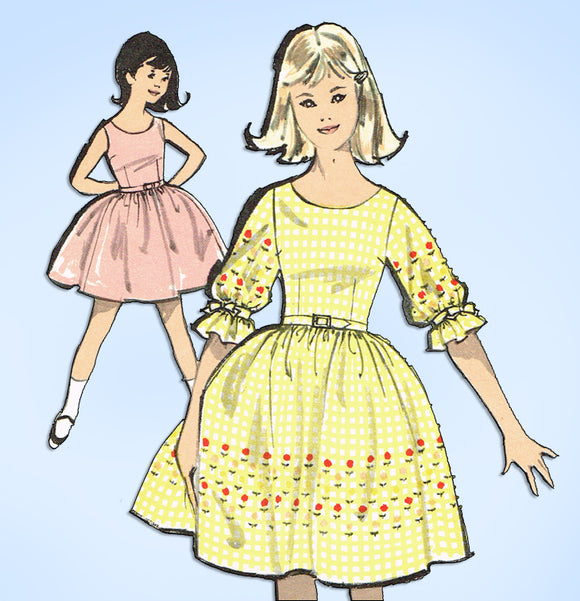 1960s Vintage Advance Sewing Pattern 2810 Little Girls Sew Easy Dress Size 10