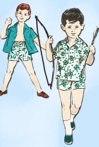1960s Vintage Advance Sewing Pattern 2816 Toddler Boys Easy Shirt Shorts Size 1