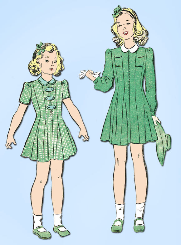 1940s Vintage Advance Sewing Pattern 2839 WWII Toddler Girls Princess Dress Sz 2 - Vintage4me2