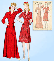 1940s Original Vintage Advance Sewing Pattern 2880 Misses WWII Housecoat Sz 34 B -Vintage4me2