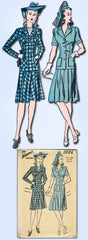 1940s Original Vintage Advance Sewing Pattern 2886 Misses WWII Suit Size 38 Bust