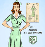 1940s Vintage Advance Sewing Pattern 2914 Womens 4-H Uniform Dress Size 38 Bust -Vintage4me2