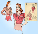 1940s Vintage Advance Sewing Pattern 2943 Charming Misses WWII Blouse Sz 30 Bust
