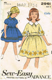 1960s Vintage Advance Sewing Pattern 2961 Sew Easy Little Girls Dress Size 8 26B - Vintage4me2