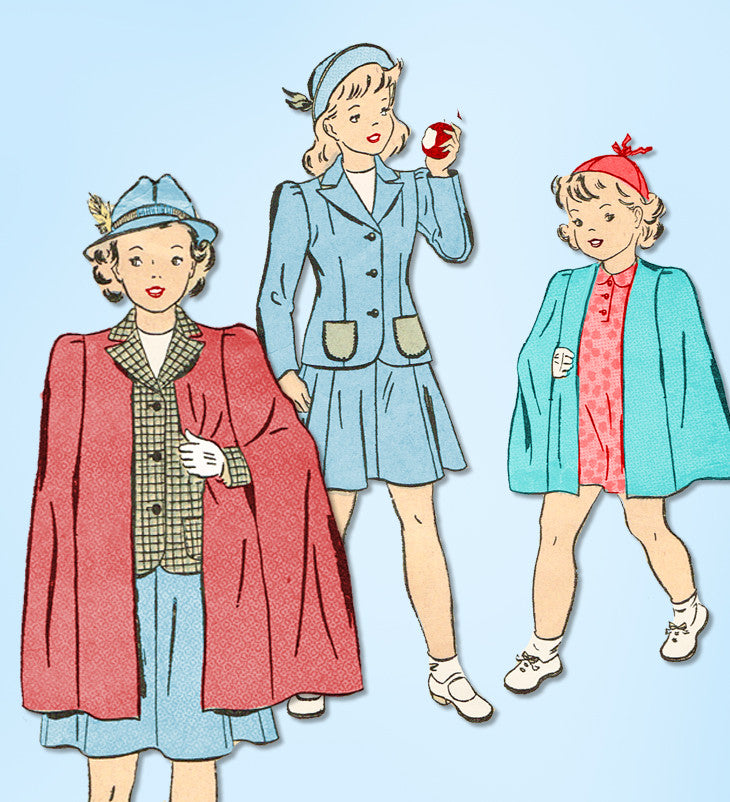 1940s Vintage Advance Sewing Pattern 2970 Wwii Toddler Girls Suit Sz