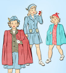1940s Vintage Advance Sewing Pattern 2970 WWII Toddler Girls Suit & Cape Size 6