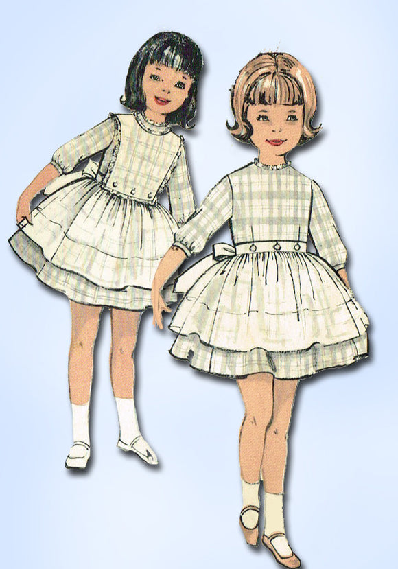 1960s Vintage Advance Sewing Pattern 2990 Toddler Girls Dress and Apron Size 4