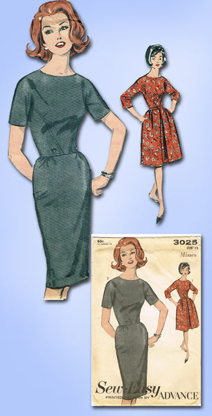1960s Vintage Advance Sewing Pattern 3025 Uncut Misses Street Dress Size 12 30B