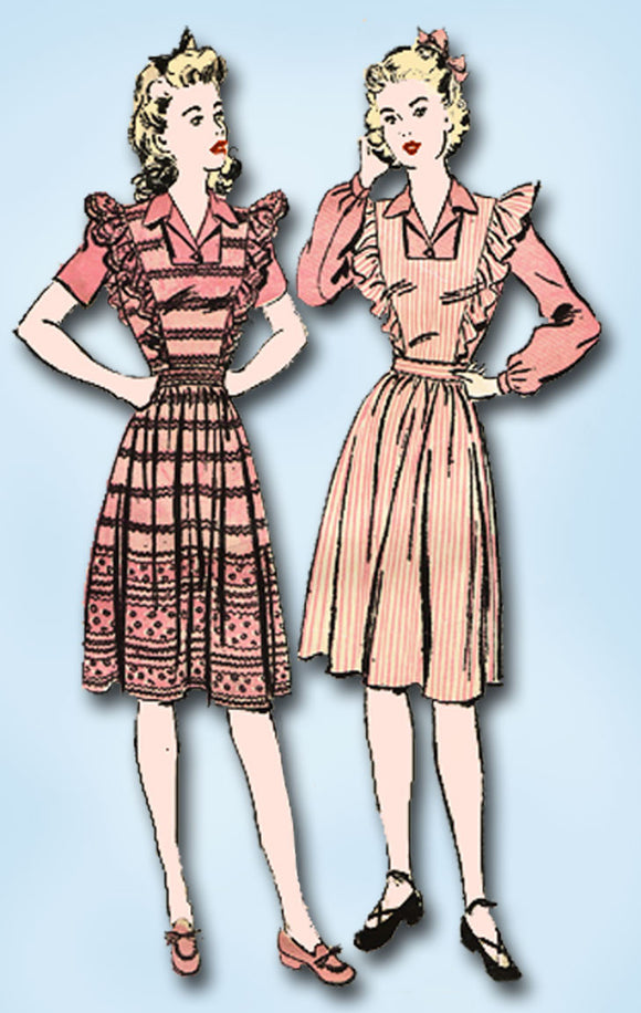 1940s Vintage Advance Sewing Pattern 3152 Misses WWII Pinafore Dress Sz 18 36 B - Vintage4me2