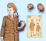 1940s Vintage Advance Sewing Pattern 3213 Toddler Girl or Boys Coat & Hat Size 3