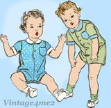 Advance 3219: 1940s Baby Boy or Girls Romper Sz 6 Months Vintage Sewing Pattern - Vintage4me2