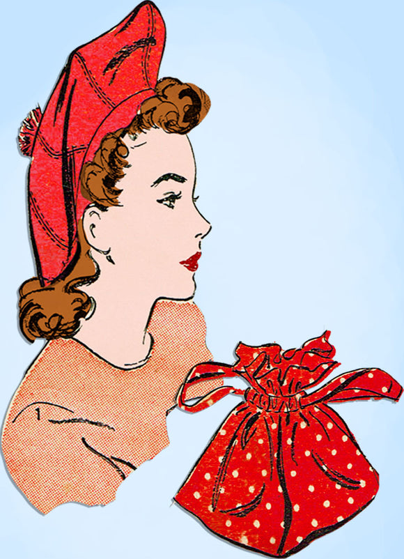 1940s Original Vintage Advance Sewing Pattern 3223 Misses Purse and Hat Set SM -Vintage4me2