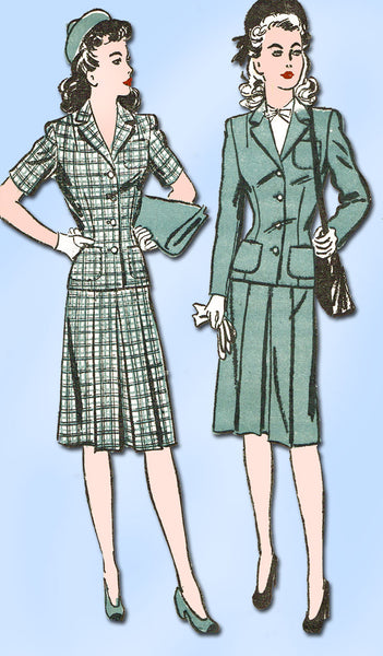 1940s Vintage Advance Sewing Pattern 3230 WWII Misses Suit Size 14 32 Bust - Vintage4me2