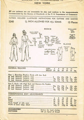 1940s Original Vintage Advance Pattern 3240 WWII Toddler Girls Overalls Size 6