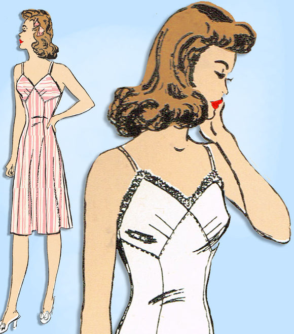 1940s Vintage Advance Sewing Pattern 3308 Misses WWII Slip with Bra Top Sz 32 B -Vintage4me2