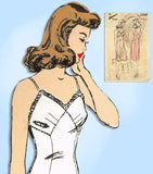 1940s Vintage Advance Sewing Pattern 3308 WWII Plus Size Slip w Bra Top 40 Bust -Vintage4me2