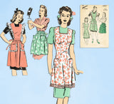 1940s Vintage Advance Sewing Pattern 3313 Misses Apron in 3 Styles Sz 32 34 Bust