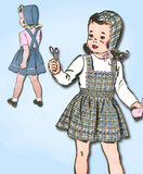 1940s Vintage Advance Sewing Pattern 3389 WWII Baby Girls Pinafore Dress Size 2 - Vintage4me2