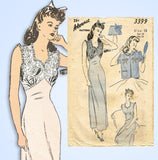 1940s Vintage Advance Sewing Pattern 3399 Stunning Misses Nightgown Size 30 Bust