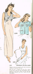 1940s Vintage Advance Sewing Pattern 3399 Uncut Misses Nightgown Size 34 Bust