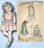 1940s Vintage Toddler Girls Pinafore Dress 1943 Advance Sewing Pattern 3410 Sz 3