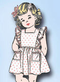 1940s Vintage Toddler Girls Pinafore Dress 1943 Advance Sewing Pattern 3410 Sz 1