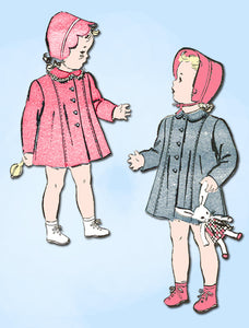 1940s Vintage Advance Sewing Pattern 3412 FF Baby Girls WWII Coat & Bonnet Sz 1 - Vintage4me2