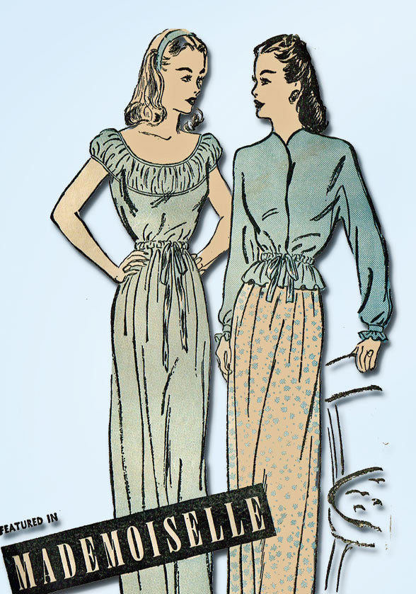 1940s Vintage Misses Nightgown & Bedjacket 1948 Advance Sewing Pattern Size 14