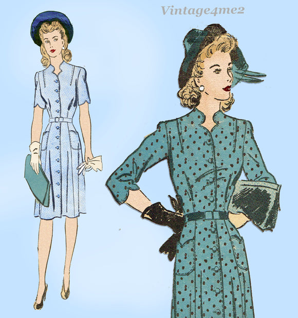 1940s Vintage Advance Sewing Pattern 3578 Charming Womens WWII Dress Sz 38 Bust