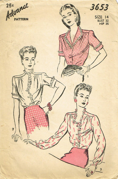 1940s Vintage Advance Sewing Pattern 3653 Misses WWII Blouse Size 14 32 Bust - Vintage4me2