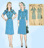 1940s Vintage Advance Sewing Pattern 3666 Plus Size WWII Scalloped Dress 42 Bust -Vintage4me2