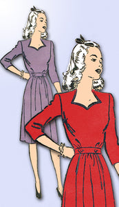 1940s Vintage Advance Sewing Pattern 3669 Junior Misses WWII Dress Size 11 29B - Vintage4me2