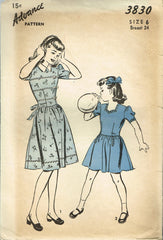 1940s Vintage Advance Sewing Pattern 3830 Toddler Girls Sweetheart Dress Size 6 - Vintage4me2