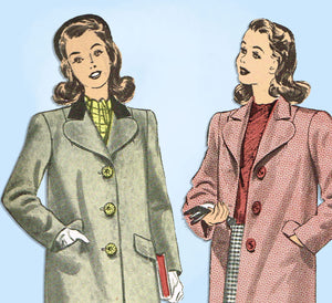 1940s Vintage Advance Sewing Pattern 3942 Teenage Misses WWII Over Coat Sz 33 B -Vintage4me2