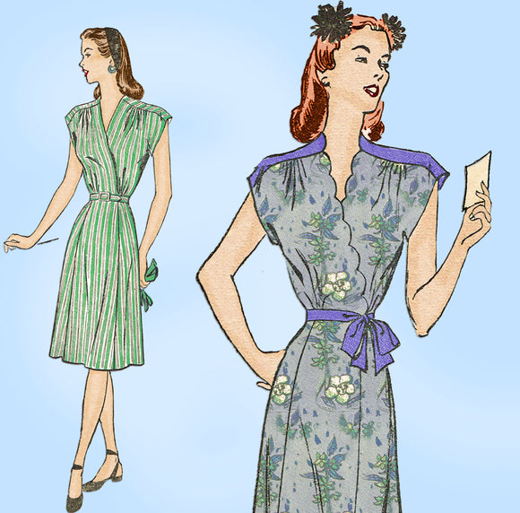 1940s Vintage Advance Sewing Pattern 3951 Cute WWII Misses Wrap Dress Sz 32 B