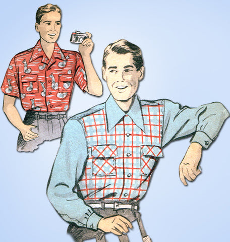 1940s Vintage Advance Sewing Pattern 3968 WWII Men's Casual Shirt Size 42 to 44C