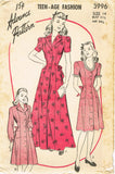 1940s Vintage Advance Sewing Pattern 3996 Uncut Teenage Misses Housecoat Size 14