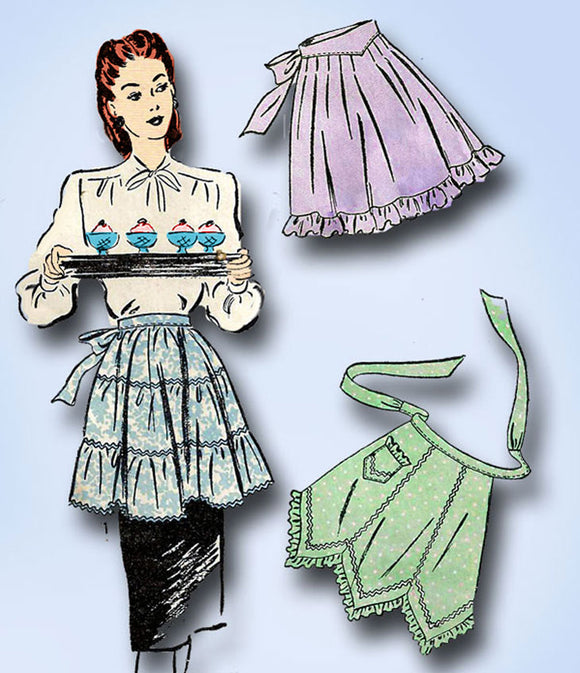 1940s Vintage Advance Sewing Pattern 4025 Misses Cocktail Apron Set Size Medium - Vintage4me2