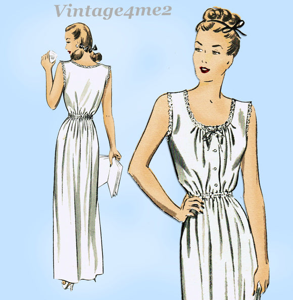 1940s Vintage Advance Sewing Pattern 4089 Easy and Pretty Misses Nightgown 32 B