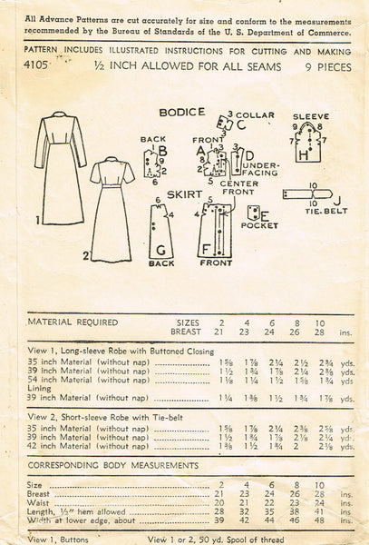 1940s Vintage Advance Sewing Pattern 4105 Toddler Girls Robe or Housecoat Size 4 - Vintage4me2
