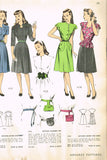 1940s Vintage Advance Sewing Pattern 4069 Misses Sweetheart Dress w Peplum 33 B -Vintage4me2