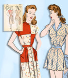 1940s VTG Advance Sewing Pattern 4219 Misses Checkerboard Playsuit & Skirt 30 B -Vintage4me2
