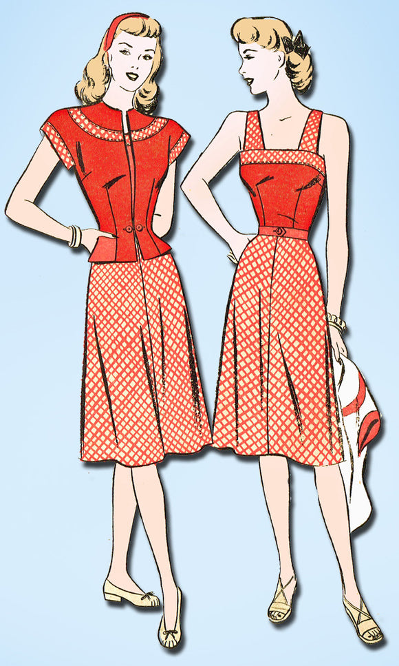1940s Vintage Advance Sewing Pattern 4230 Uncut Misses Sun Dress Size 14 32 B - Vintage4me2